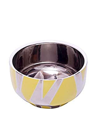 Waylande Gregory Vertical Zebra Small Chubby Bowl, Yellow/Platinum