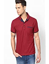 Solid Maroon Polo T-Shirt