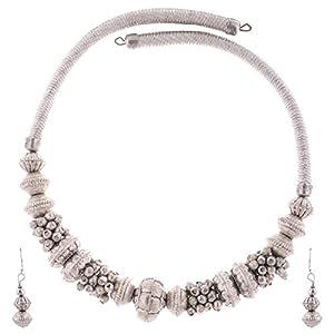 The Crazy Neck Silver Colored Chokha Style Metallic Neck Piece jewellery Set
