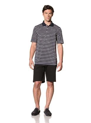 Bobby Jones Men's Tri-Color Simple Stripe Tech Polo (Navy)