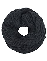 Dahlia Women's Thick Winter Cable Knit Infinity Scarf - Black