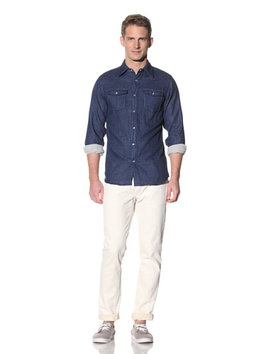Barque Men's Chambray Long Sleeve Vintage Western Shirt (Navy)