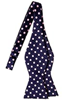Retreez Classic Polka Dots Woven Microfiber Self Tie Bow Tie - Navy Blue with Pink Dots
