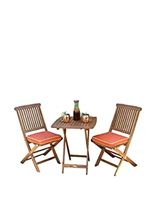 Outdoor Interiors Eucalyptus 3-Piece Bistro Set, Brown/Orange