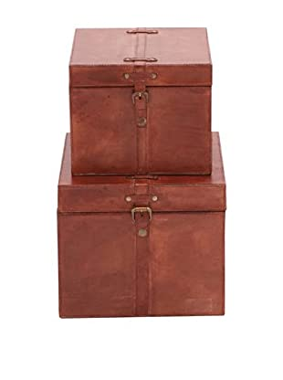Set of 2 Leather Storage Boxes