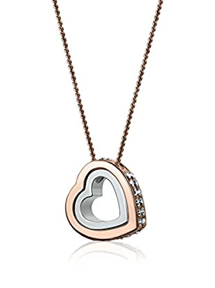 Annie Ram Collar Double Heart Strass Metal Rosado