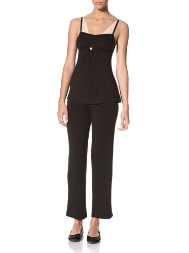 Betsey Johnson Women's Luscious Lite Stretch Lace Pajama Set (Raven Black)