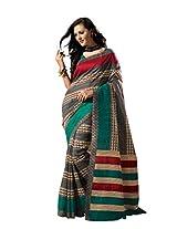De Marca Multi-Coloured Raw Silk A2412 Saree