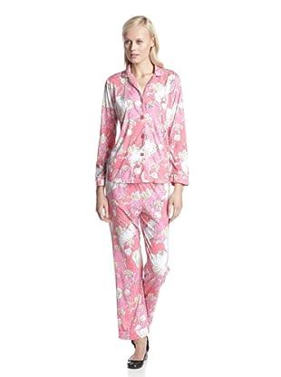 BH PJ's by BedHead Pajamas Women's Classic Notch Collar Pajama Set (Leaf Pink)