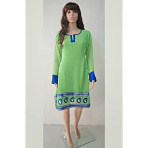 Kurtas and kurtis - Beautiful Green Georgette Kurti With Long Sleeves