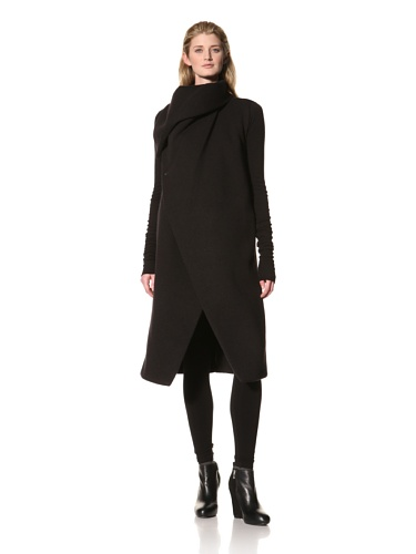 RICK OWENS Women's Oversized Collar Coat (Black)