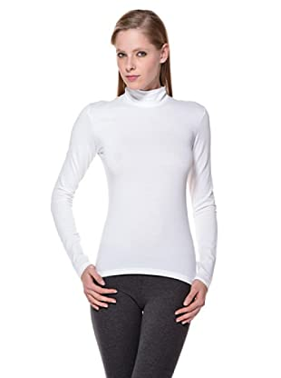 Cotonella Camiseta Mock Cuello Alto (blanco)