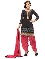 Kvsfab Womens Zari Patiala Unstitched Dress Material (Kvs 2457Pa-24 _Black)