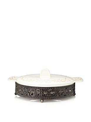 Home Essentials Round Scroll Casserole with Pressed Metal Holder, Off-White/Bronze