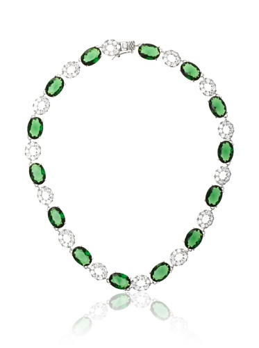 CZ by Kenneth Jay Lane Green/Clear Pave and Oval Cut Necklace