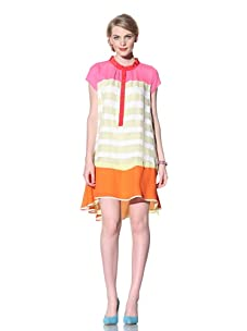 Chris Benz Women's Vintage Banded Sleeveless Shirt Dress (Bright Multi)