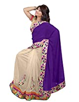 Trynget'S Blue & Cream Color Half-Half Branded Saree