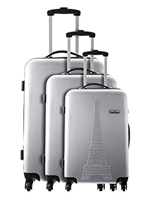 Platinium Set 3 Trolley 4 Ruedas Paris (Plata)