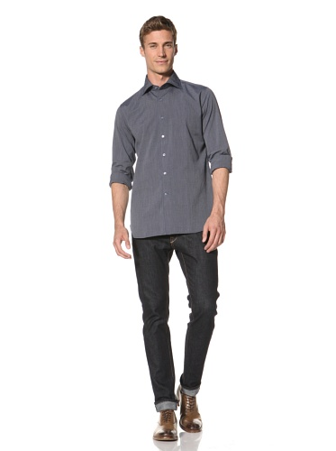 Orian Men's Washed Microdot Shirt (Blue)