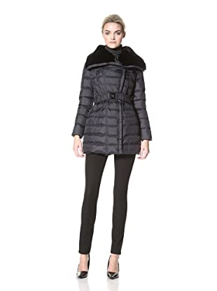 Dawn Levy Women's Lola Belted Down Coat with Rabbit Fur Collar (Abyss)