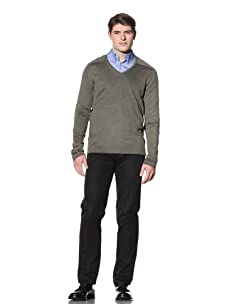 Cruciani Men's Classic V-Neck Sweater (Olive Green)