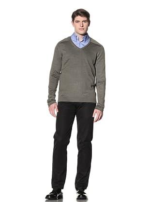 Cruciani Men's Classic V-Neck Sweater (Olive Green)