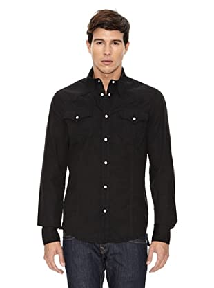 True Religion Camisa Manga Larga Bolsillos Frontales (Negro)