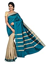 Korni Cotton Silk Banarasi Saree SHDEQ-315- Gray/Rama KR0450