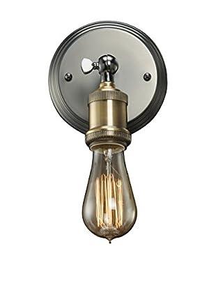 Bulbrite Vintage 1-Light Brass Bare Socket Wall Sconce, Pewter Finish