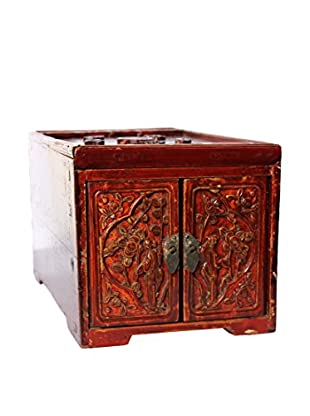 Asian Loft Late 19th Century Shanxi Dynasty Jewelry Box, Brown/Burgundy