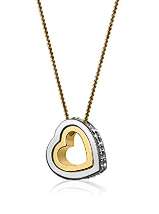 Swarovski Elements by Philippa Gold Halskette Double Heart Strass