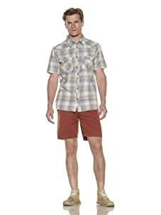 Nüco Men's Shorts Sleeve Plaid Woven Shirt (Cyan)