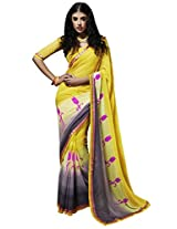 Viva N Diva Yellow & Grey Color Georgette Saree.