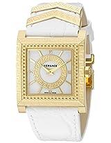 Versace Womens VQF010015 DV-25 Analog Display Swiss Quartz White Watch