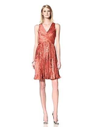 HALSTON HERITAGE Women's V-Neck Pleated Dress (Pomegranate)