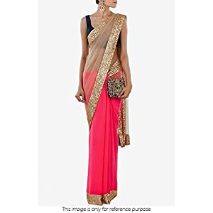 Bollywood Replica Model Georgette and Net Saree In Pink and Beige Colour NC646