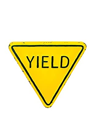 Torre & Tagus Distressed Yield Sign Metal Wall Décor
