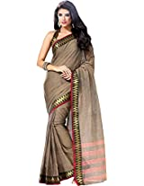 Parchayee Women's Cotton Saree (94382A, Brown, Free Size)