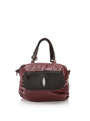 Khirma Eliazov Leather & Stingray Top Handle Bag (Burgundy)