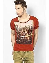 Rust Printed Round Neck T Shirt