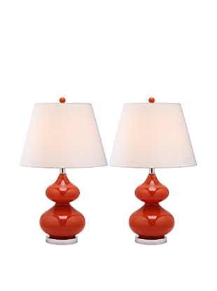 Safavieh Eva Double Gourd Glass Lamp, Set Of 2, Blood Orange/Silver