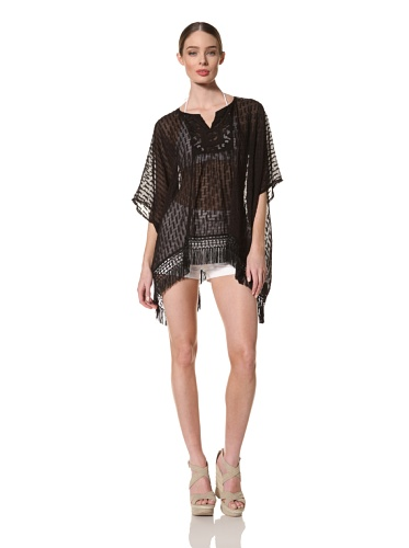 Anna Sui Women's Mixed Solid Silk Jacquard Tunic (Black)