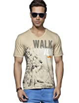 Printed Beige V-Neck T Shirt