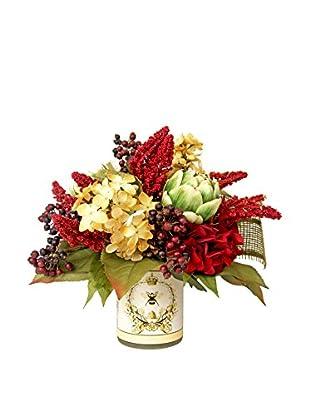 Creative Displays Gold & Burgundy Hydrangeas, Burgundy Astilbe, Berries & Artichokes in Vintage Container, Gold/Burgundy