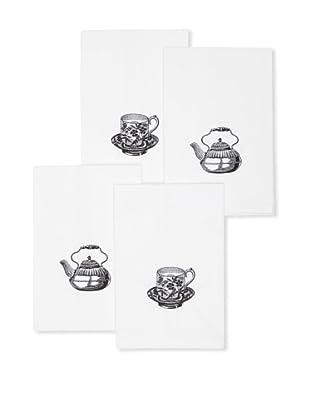 D.L. Rhein Set of 4 Tea Party Kitchen Towels