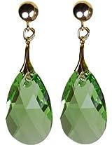 Pear shape Peridot Green Swarovski Crystal Drop Earring