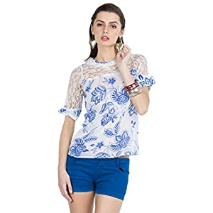 Zovi Womens Georgette Long Sleeve Top (106596056010M _White/Blue _Medium)