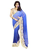 Blue Color Georgette Saree with Zari, resham embroidery, stone work and lace border