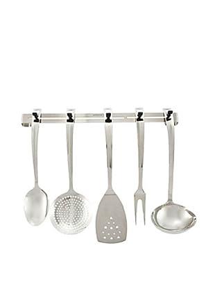 Casa Bugatti 6-Piece Kitchen Tool Set with Rack, Metallic