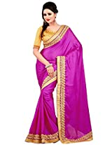 Utsav Fashion Women's Purple Faux Crepe Jacquard Saree with Blouse